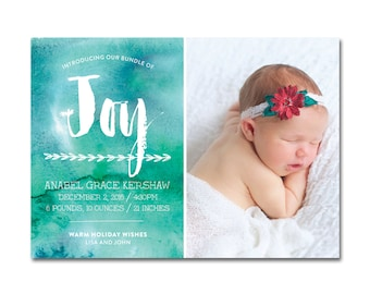 Holiday Baby/Birth Announcement - 5x7 - Bundle of Joy - Blue/Green Watercolors - Printable and Personalized