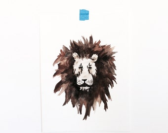 Watercolor Lion Poster (Original)