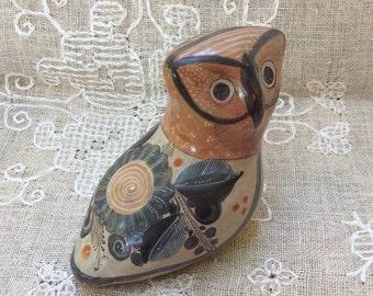 Vintage Tonala Mexican Art Pottery Owl / Bird