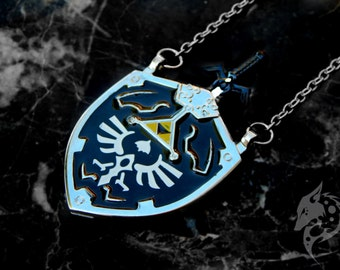 Hylian Shield Necklace / Dark Link Cosplay / Legend of Zelda Jewelry / Video Game Charm / Legend of Zelda Great Sword / Fantasy Jewelry
