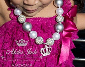 Princess Chunky Necklace, Princess Crown Bubblegum Necklace, Birthday Party Necklace, Baby Chunky Necklace Little Girl Necklace Baby Jewelry
