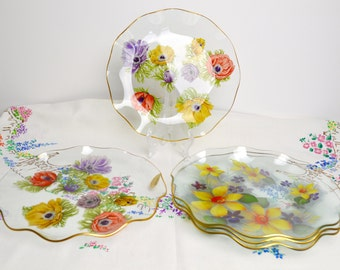 1960s set of five chance glass serving dishes/plates in florals