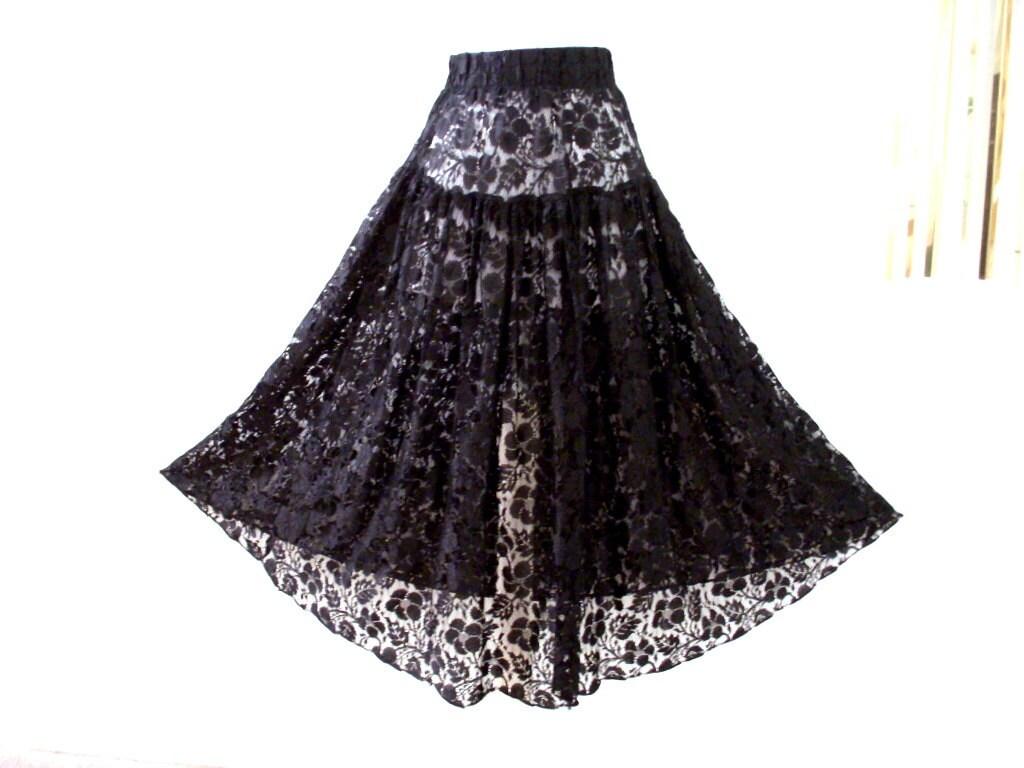 vintage 90s black lace maxi skirt sheer black lace skirt