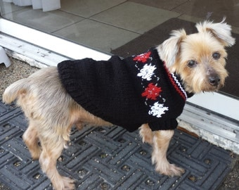 Hand Knitted Black Argyle Dog Sweater - Size Small