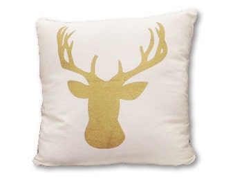Gold Stag Silhouette pillow cover on Canvas/linen - Deer Silhouette