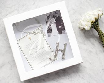 Monogrammed Keepsake Wedding Shadow Box White