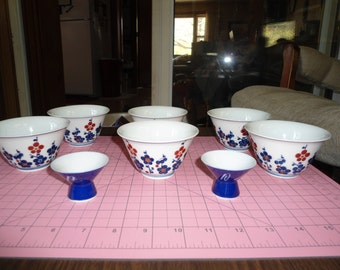 Vintage Porcelain, OMC, Japanese, Ceramic, Rice Bowls, Sake, Asian Decor,  Home Decor, Gift for Her, Kitchen Decor, Shabby Chic, Dishes, Lot