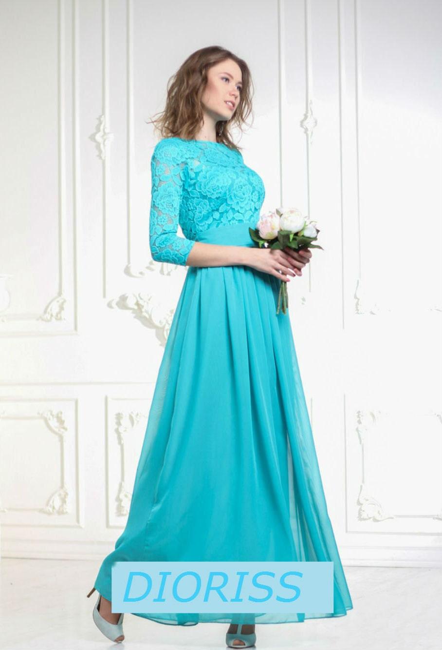 Turquoise blue bridesmaid maxi dress turquoise chiffon wedding for Turquoise and white wedding dresses