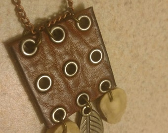 Unique Leather Deer Antler Sliced Leaf Necklace