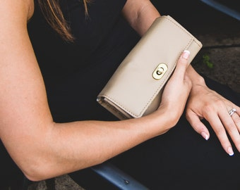 Women's Wallet - Women's Large Wallet - Large Clutch Wallet - Vegan Clutch Wallet - Smartphone Clutch - Light Brown Vegan Wallet - Travel