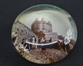 Victorian vintage Glass Paperweight with seaside B&W photo