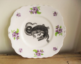 ALTERED ART Plate Vintage China Plate WALL Art Alligator Plate Floral Plate Hand Applied Decal 18th Century Illustration Fanciful Animal