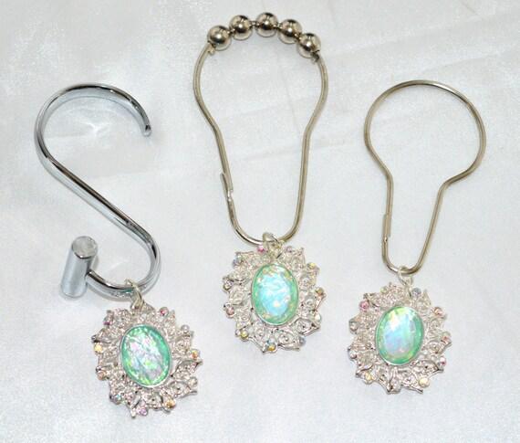 Opal Medallion Shower Curtain Hooks-12 Aqua Faux Jewel Silver