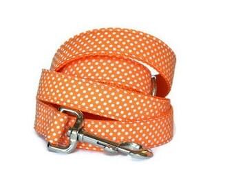 Orange And White Polka Dot Dog Leash, Orange Dog Leash, Polka Dot Leash, Fall Color Dog Leash, Autumn Dog Leash, Leash For Girl Dog