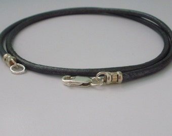 Mens Leather Necklace, Leather Silver Necklace, Grey Leather Sterling Silver Necklace, Unisex Necklace, Mens Gift, boyfriend gift, handmade