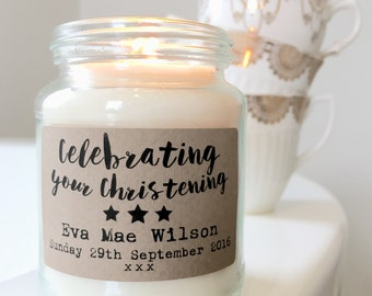 Personalised Christening / Baptism / Dedication / Communion Soy Scented Candle