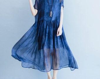 women silk&cotton dress/women summer dress/women blue dress/women leisure dress/women cotton dress/