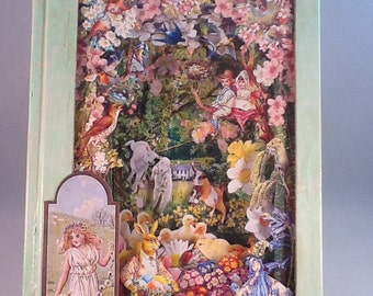 Spring; Four Seasons; Altered Art book; Diorama; Repurposed Book; Second hand Book; OOAK