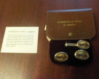 Vintage Currier & Ives Cuff Links and Tie Clip By Squire