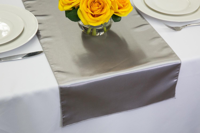 silver satin table runner wedding table runners. Black Bedroom Furniture Sets. Home Design Ideas