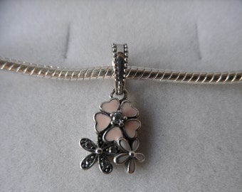 925 Sterling Silver Dangle Flower Charm/Bead - Compatible with Pandora & Chamillia