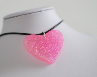 Sparkly Pink Heart Choker