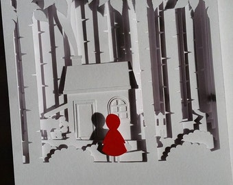 Little Red DIY 3D Shadow Box Layered Papercut Template PDF Printable With Step-by-Step Tutorial