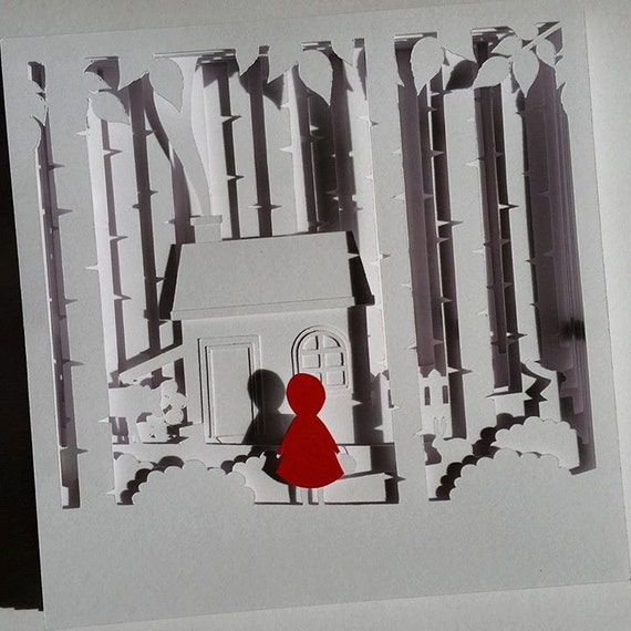 little red diy 3d shadow box layered by notjustpaperboutique