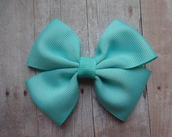 Aqua Pinwheel Hair Bow