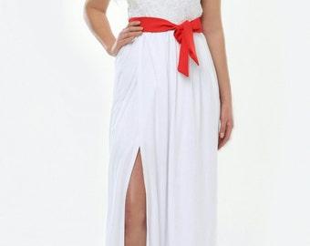 White Wedding Maxi Dress Round Neck V Back Slit Short Sleeves