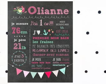 Displays custom 1st anniversary - digital chalkboard_FICHIER, day 1 year old girl, pink and Mint, souvenir, smash the cake