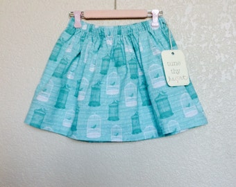Girls Teal and White Bird Cage Skirt