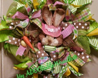 Easter Bunny Rabbit Wreath Spring Whimisical Deco Mesh Wreath Spring Wreath- Easter Eggs Ribbon Bows Wreath- Bunny Head Wreath- Happy Easter