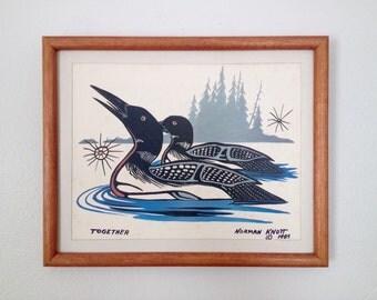 "Norman Knott ""Together"" 1985 Loons Ojibwe Canada Native Framed Art Print"