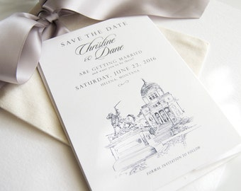 Helena, Montana Skyline Save the Dates, Save the Date Cards (set of 25 cards)