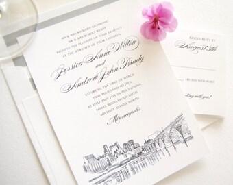 Minneapolis Skyline Wedding Invitation, Minneapolis Wedding, Invite (Sold in Sets of 10 Invitations, RSVP Cards + Envelopes)