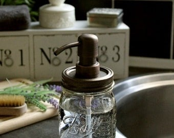 Ball Mason Rustic Soap Dispenser Jar with Antique Bronze Pump and Lid **UK SELLER**