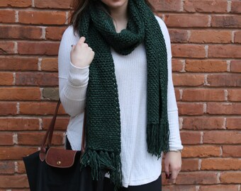 The Jessie Scarf-Reduced Rate!, Over-sized Crochet Scarf with Fringe, Bulky Scarf with Fringe, Crochet Scarf