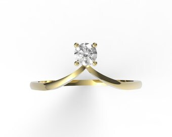 Chevron ring, diamond chevron ring, 14K gold with diamond chevron ring, Engagement ring Anniversary ring, diamond engagement ring, V Ring