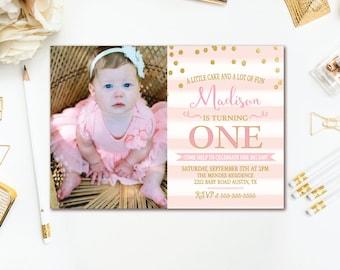 Pink & Gold Birthday Party Invitation - Pink White Stripe Confetti Birthday Invite - Girls 1st Birthday Photo Invitation - Printable