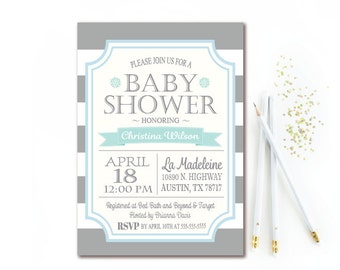 Gray & Blue Baby Shower Invitation - Gray and White Stripe Boy Baby Shower Invite - PRINTABLE
