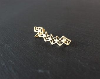 Earcuff geometric Edmée brass gold