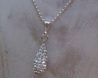 925 Silver chain with sparkly crystal pendants, glamorous for the big show!