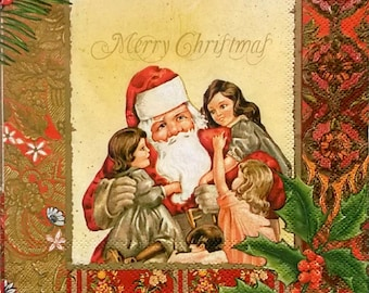 Decoupage paper napkins ''Santa Claus with kids'' set of 2 pcs 3-ply 33x33cm, Holiday napkins, Christmas napkins