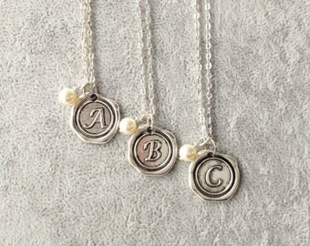 Wax Seal custom,Kids initial necklace,personalized bridesmaids gifts,monogram necklace with pearl