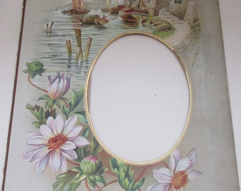 Beautiful Antique Edwardian Harbour Scene and Flowers Card Photo Frame Mount