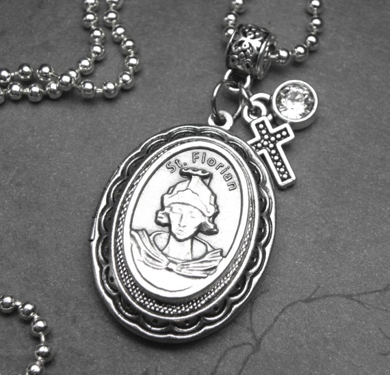 St Florian Necklace: Firefighters Patron Saint Florian Catholic Holy Medal Locket