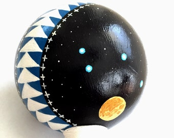 VEGAN Native American Rattle - PLEIADES SOUL - Soft Faux Leather Handle with Sacred Creek Rock Fill. Stars glow!