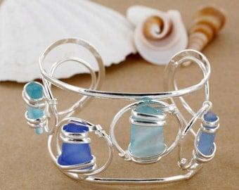 Blue Multi Sea Glass Cuff