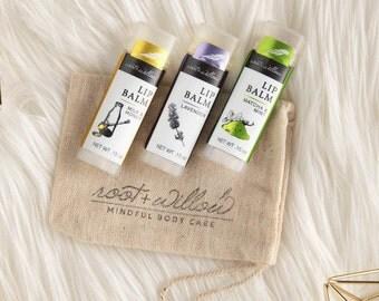 Lip Balm Set, organic lip balm, lip balm trio, gift sets, lip butter, natural lip balms, Natural lip balm Pick 3